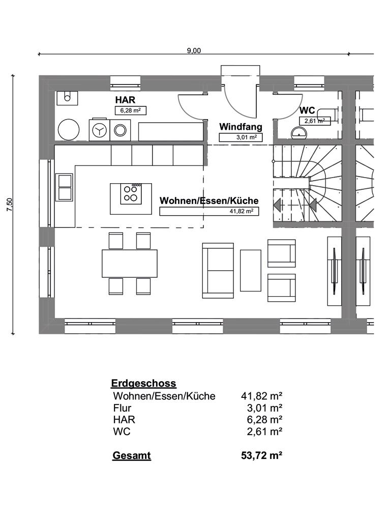 Doppelhaushälfte in ruhiger Wohnstraße in Hamburg-Billstedt (DHH 4) - Grundrissvariante EG