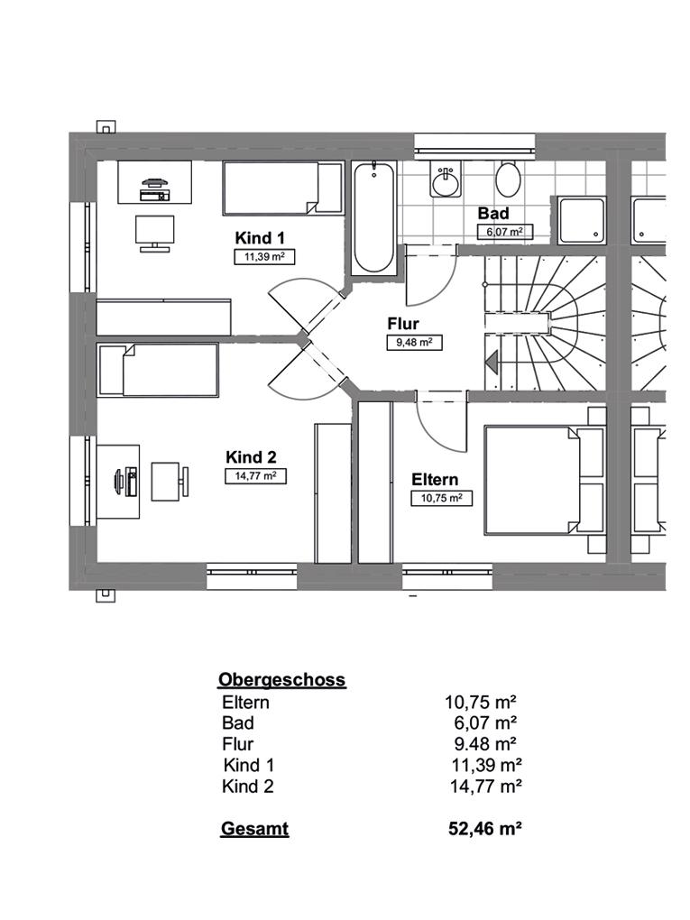 Doppelhaushälfte in ruhiger Wohnstraße in Hamburg-Billstedt (DHH 4) - Grundrissvariante OG