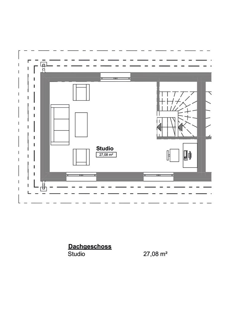 Doppelhaushälfte in ruhiger Wohnstraße in Hamburg-Billstedt (DHH 4) - Grundrissvariante DG/Studio