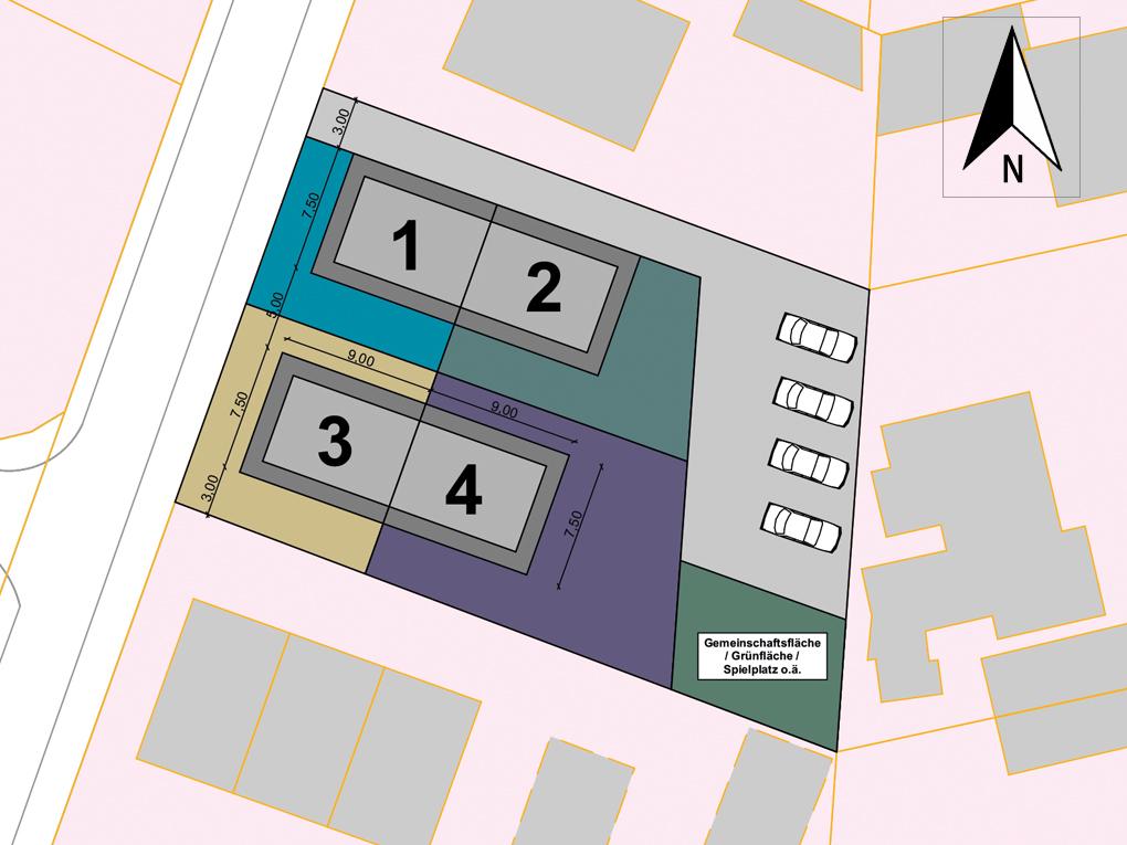 Doppelhaushälfte in ruhiger Wohnstraße in Hamburg-Billstedt (DHH 4) - Lageplan / Teilungsplan