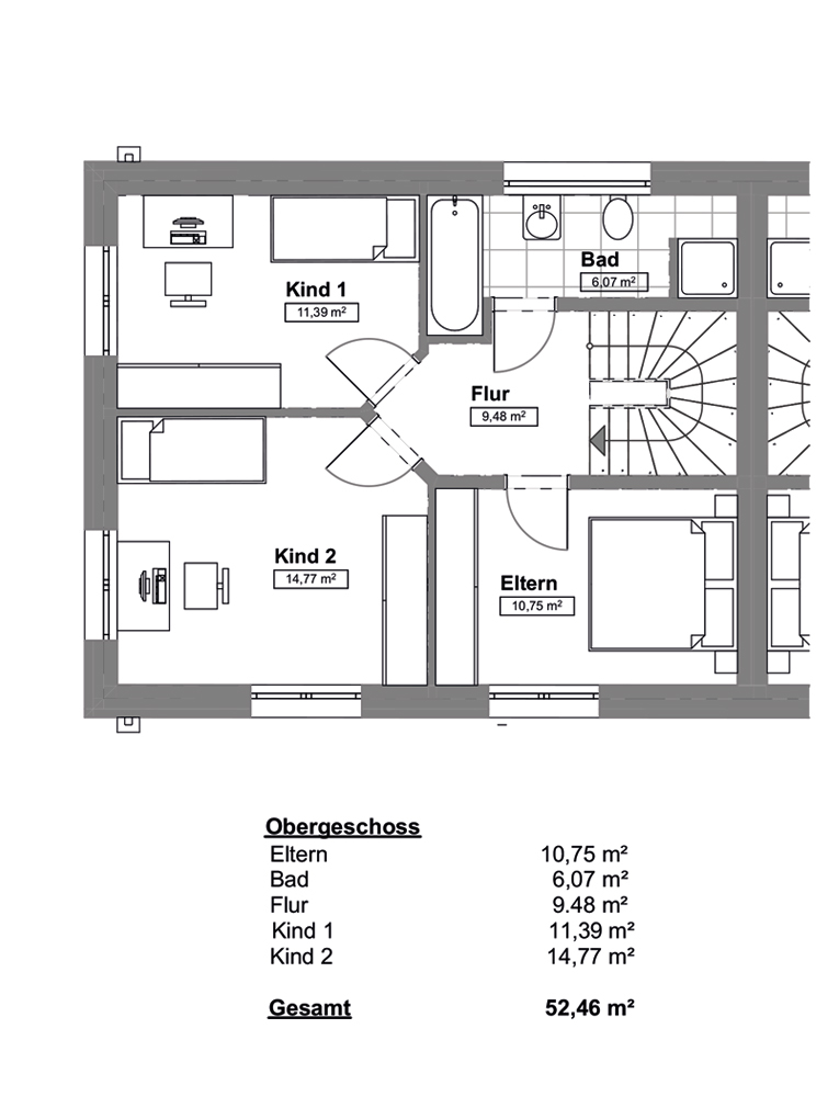 Doppelhaushälfte in ruhiger Wohnstraße in Hamburg-Billstedt (DHH 2) - Obergeschoss