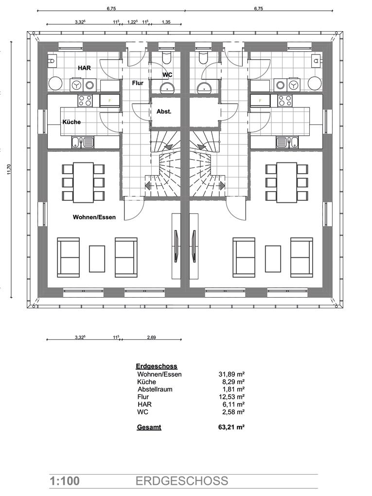Doppelhaushälfte in Billwerder, am Ende einer Sackgasse (DHH 1) - Erdgeschoss